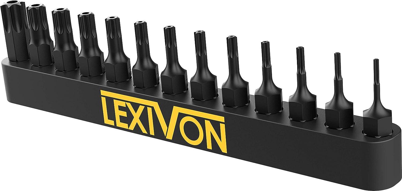 T40 LEXIVON Tamper Proof Torx Bit Set 13-Piece Security Star Bits T4 Premium S2 Alloy Steel Precision CNC Machined LX-301