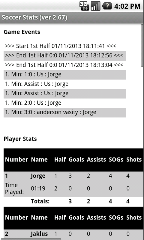 Amazon.com: Soccer Stats Tracker w/ Playing Time Tracker: Appstore ...