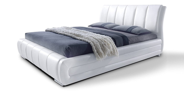 Polsterbett mit Lattenrost Designer Bett Danville weiß gesteppt ...