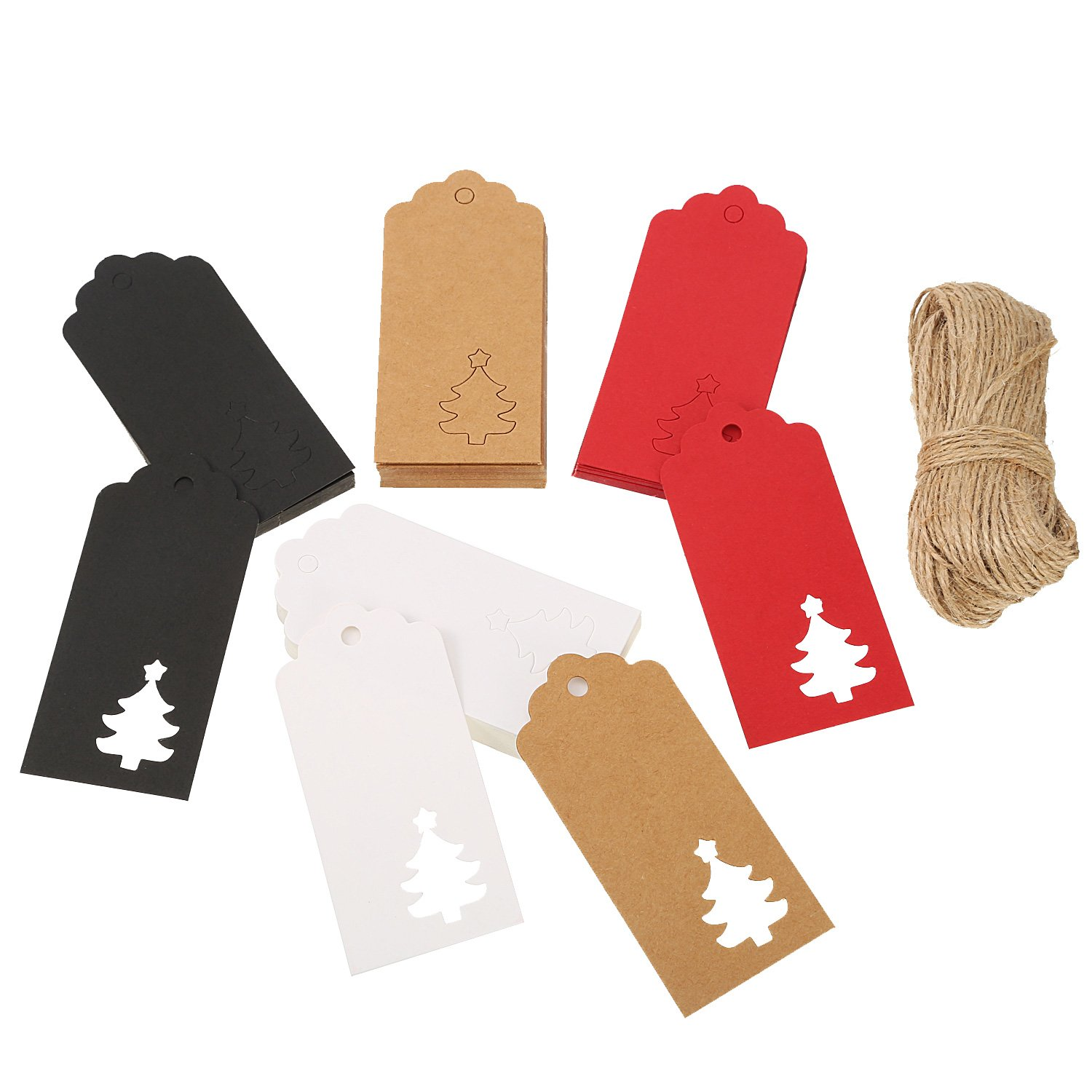 100 Pack Christmas Paper Gift Tags Crafts Tags Hollow Christmas Tree Hang Labels Wedding Party Favor Tags with 30 Meters Twine (Black) Sumind 4336879916