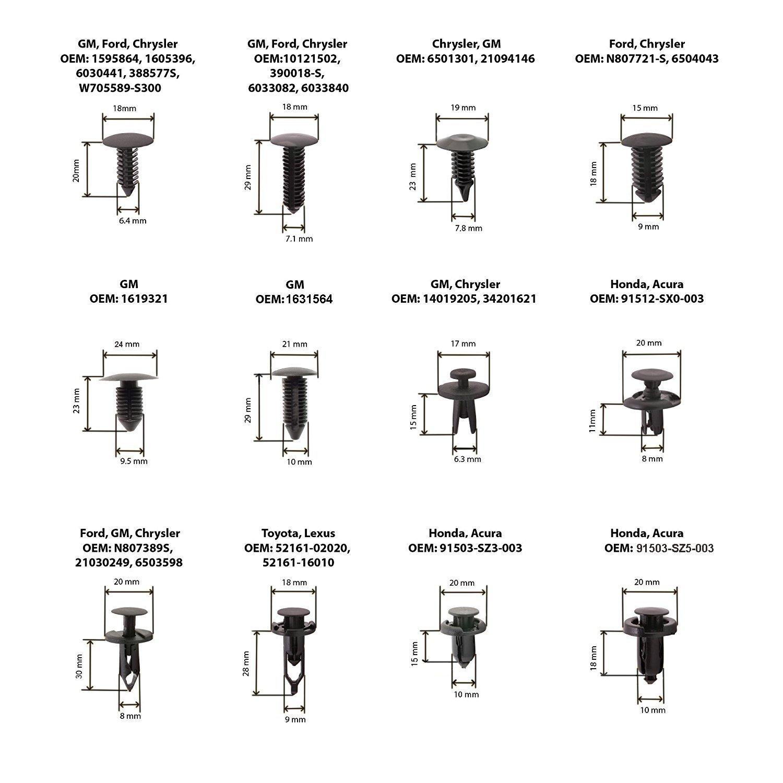 Auto Push Pin Rivet Trim Clip Panel Body Interior Assortment Set Fits for GM Ford Toyota Honda Chrysler More Direct MORMOR M1004 240 Pcs Car Retainer Clip with Fastener Remover Tool Kit