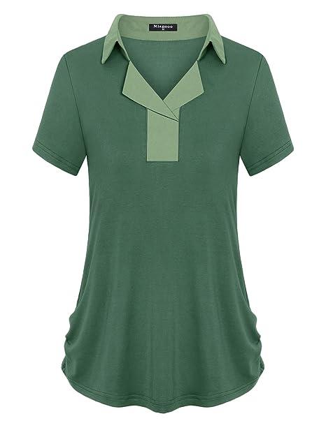 e607ce03ce1 Miagooo Women s Lapel Collar V Neck 2-Button Short Sleeve Casual ...