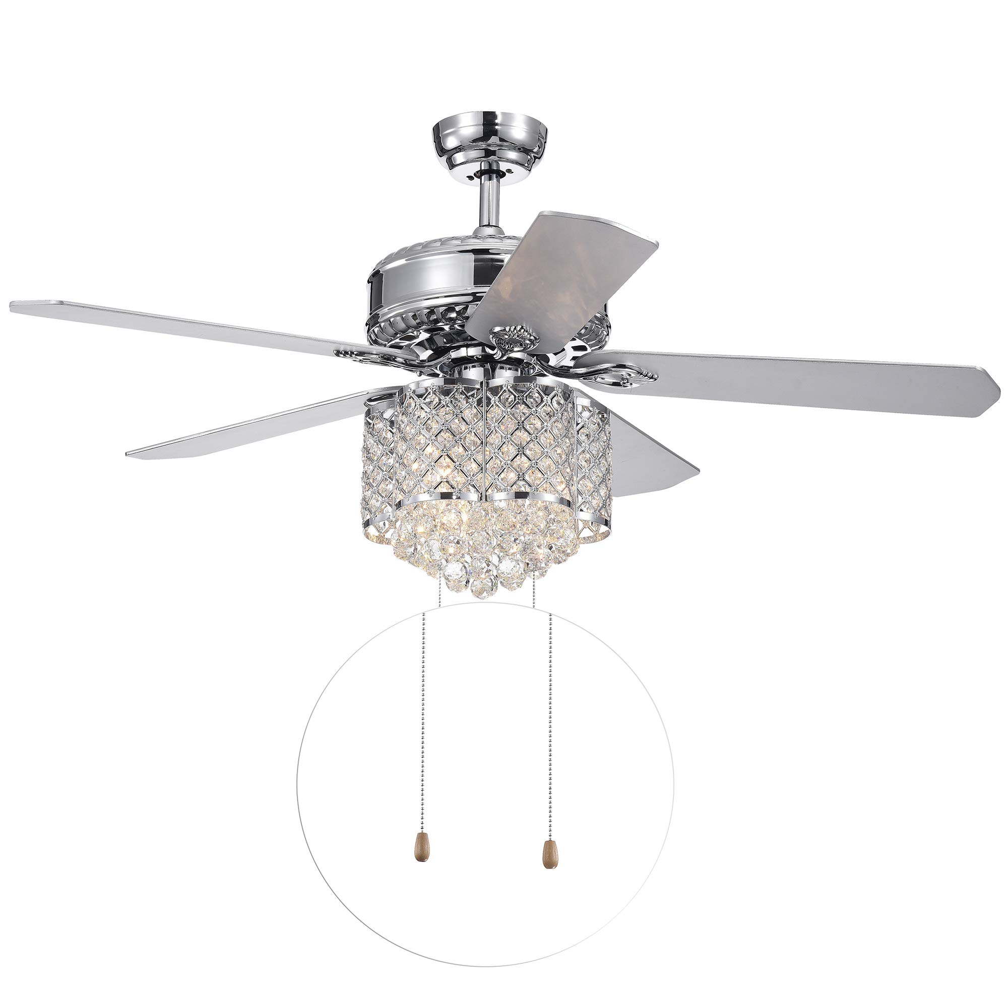 Home Accessories CFL-8316CH Deidor 5-Blade 52-inch Chrome 3-Light Crystal Chandelier (Remote Controlled & 2 Color Option) Ceiling Fan by Home Accessories