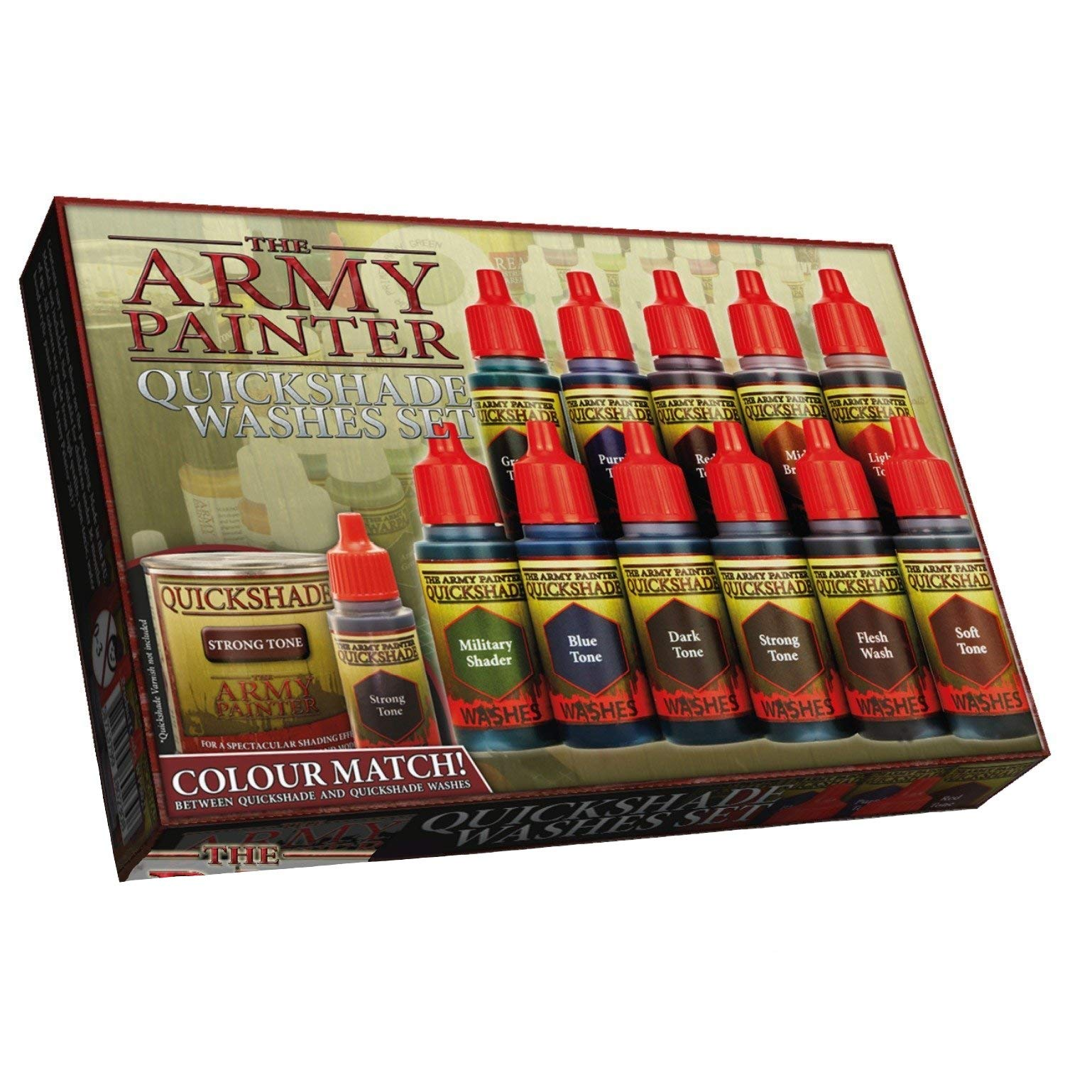 The Army Painter Warpaints Quickshade Wash Set - Miniature Painting Kit of 11 Dropper Bottles with Fluid Acrylic Paint Color Washes by The Army Painter