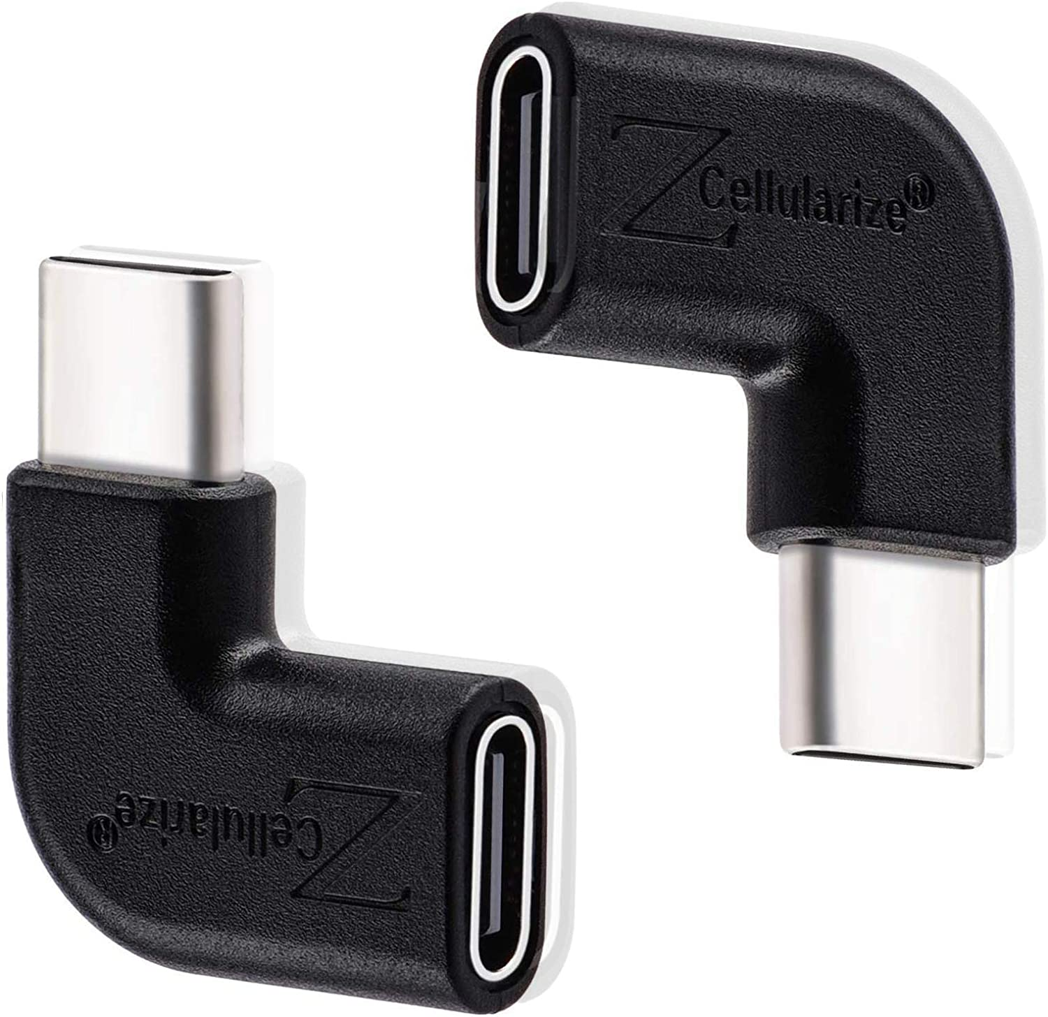 Cellularize Right Angle USB C Adapter (3 Pack, Black) 3.1/10Gbps Low Profile 90 Degree Right & Left Angle USB Type C Male to Female Extension for Nintendo Switch, Laptop, Tablet, Mobile Phone