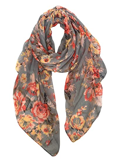 3c8af783e14a0 GERINLY Fashion Scarfs for Women Lightweight Flowers Print Long Wrap Shawls  (Gray)