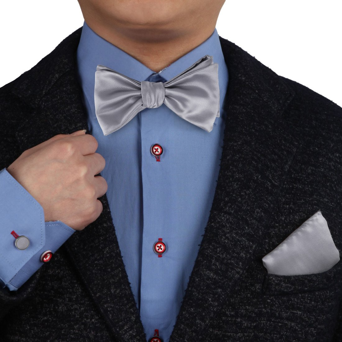 Slate Gray Self-tie Silk Bow Tie For Mens Handkerchiefs Cufflinks Set With Gift Box BT1004  Slate Gray