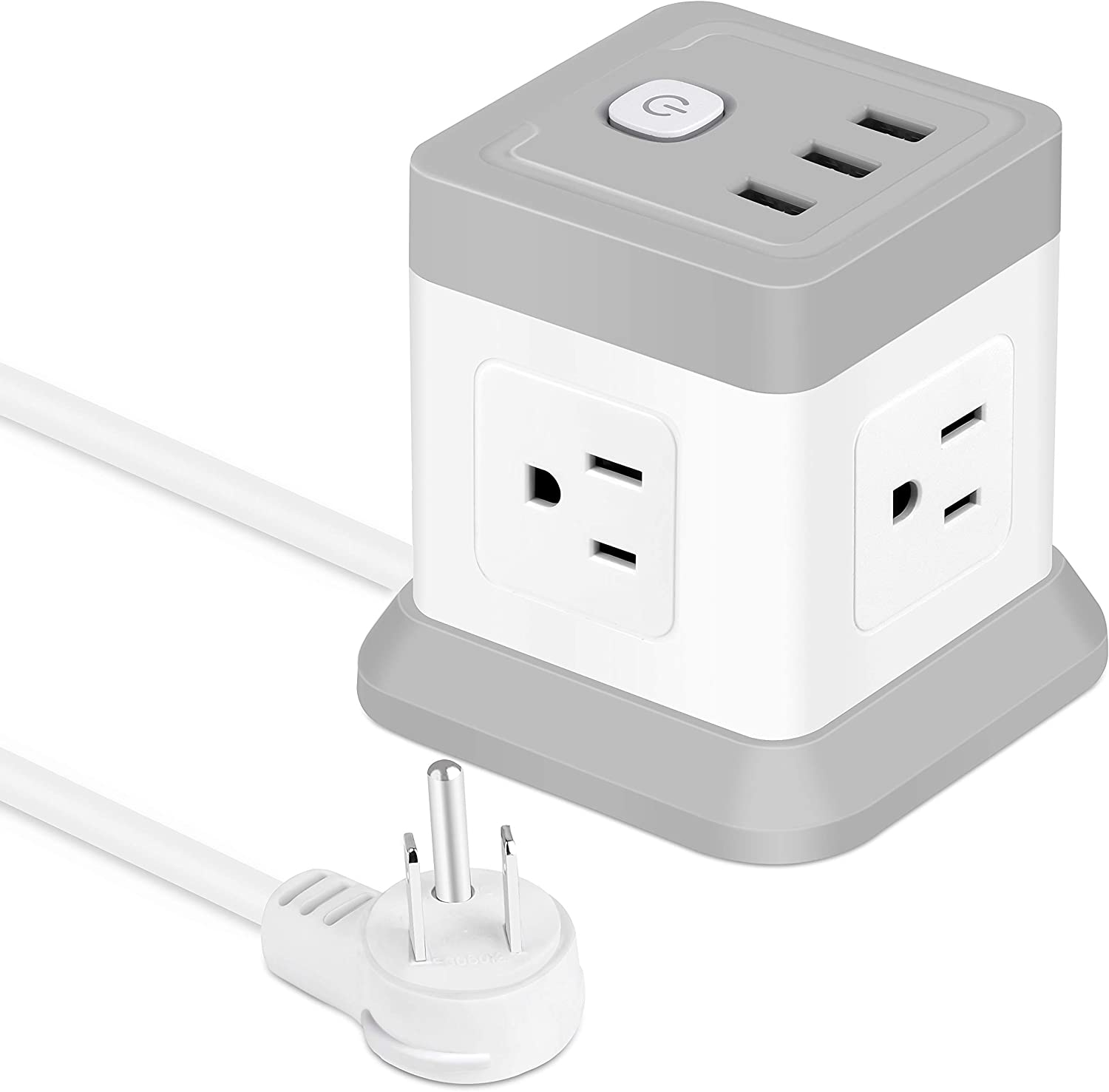 BEVA Power Strip with USB, Cube Power Strip Flat Plug with 4 Outlets 3 USB Ports 5ft Extension Cord, Small Desktop Charging Station Multi Protection for Travel, Cruise Ship, Office, Dorm Room-White