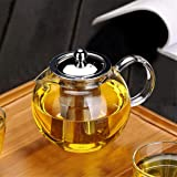 Small Glass Teapot with Removable Infuser, OBOR Stovetop Safe Kettle, Blooming and Loose Leaf Tea Maker Set, 650ml/22oz
