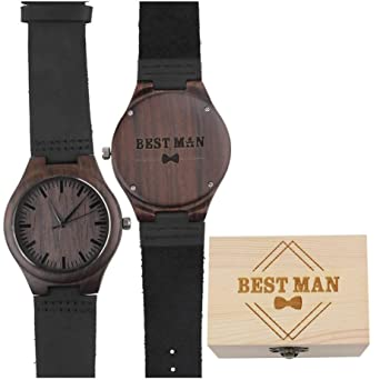 28d2b071390a Engraved Best Man Wooden Watches Brown Leather Strap Casual Watch Will You  Be My Best Man