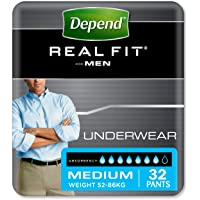 Depend Adult Care Real Fit Incontinence Underwear For Men, Grey, Medium (Pack of 32) - Packaging May Vary