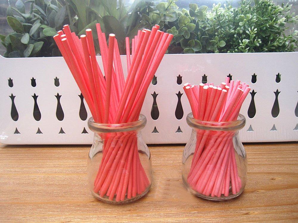 Dealglad 100pcs Paper Lollipop Sucker Sticks for Cake Pops Candy, 6-Inch by 5/32-Inch (Light Pink)