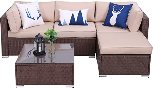 Green4ever Outdoor Furniture Set 5 Piece Patio Couch Sectional Rattan Sofa Sets