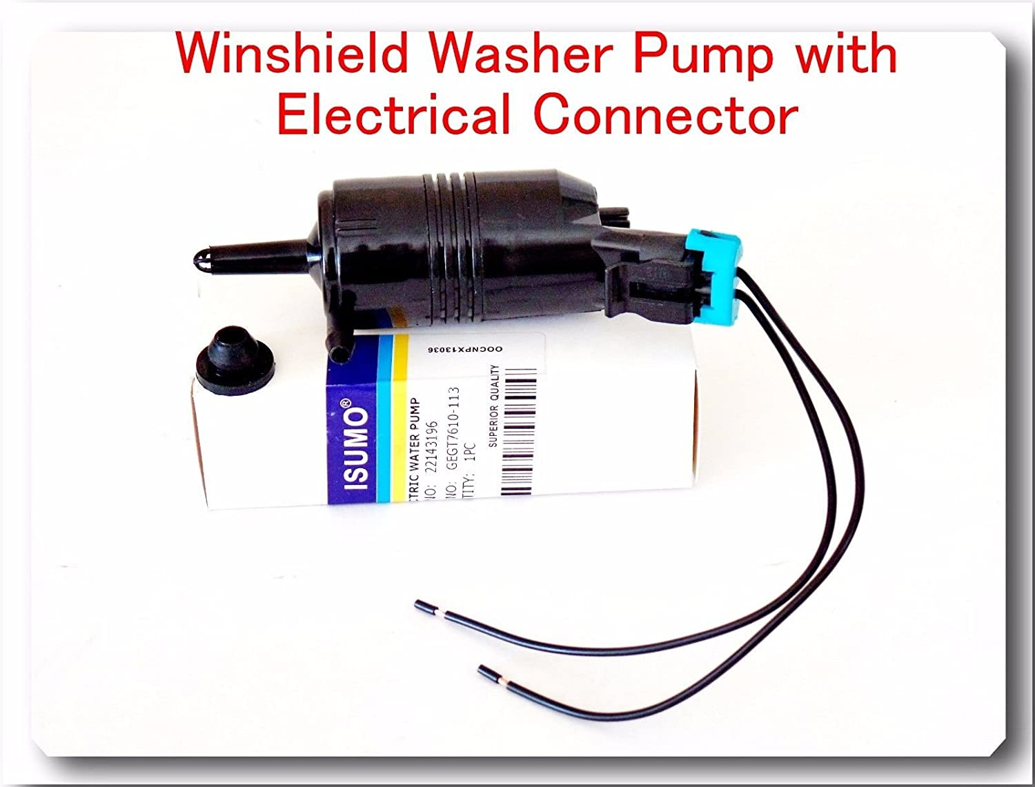 FIts:GMC YUKON 1992-2006 YUKON XL 1500 2000-2006 YUKON XL 2500 2000-2006 SATURN OUTLOOK 2007-2010 22143196 Windshield Washer Pump With Electrical Connector Pigtail