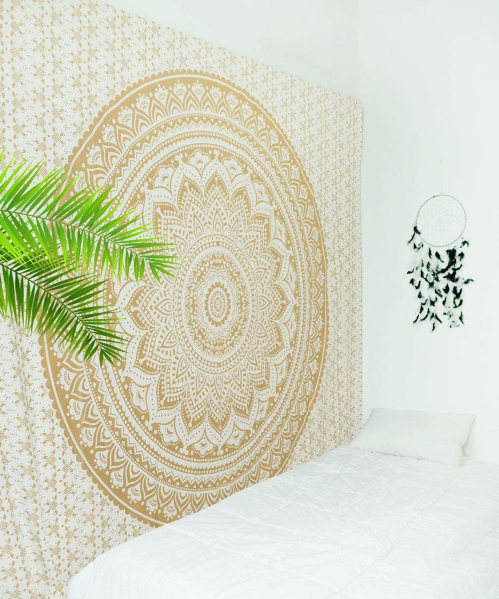 Royal Furnish Gold Tapestry, Hippie Boho Gold Indian Mandala Tapestry, Bohemian Queen Size Glitter Gold Ombre Tapestry Wall Hanging for Bedroom, Living ROM and Dorm Room Queen, Gold 834