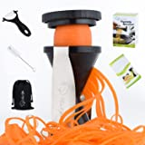 Spiralizer Vegetable Slicer By Bestoffer | Spiral Slicer Veggie Spiralizer Zucchini Spiral Noodle Spaghetti Maker With Ceramic Peeler Brush Carrying Bag And Recipe Book Complete Bundle Black