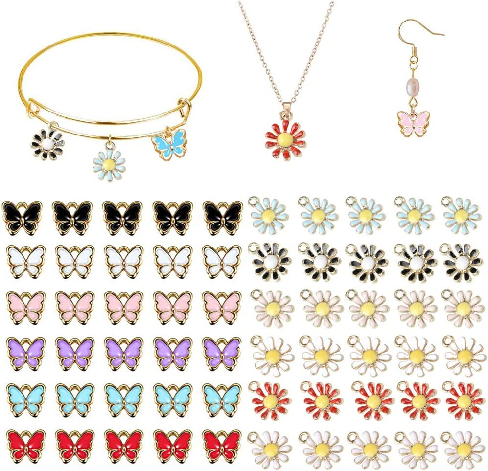 Kalolary 60 Pcs Assorted Gold Plated Butterfly Enamel Daisy Flower Planet Charms Pendant for DIY Jewelry Making Necklace Bracelet Earring and Crafting