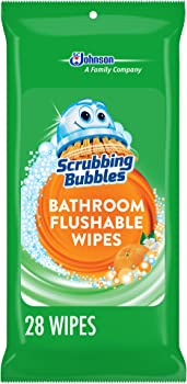 28-Count Scrubbing Bubbles Antibacterial Bathroom Flushable Wipes