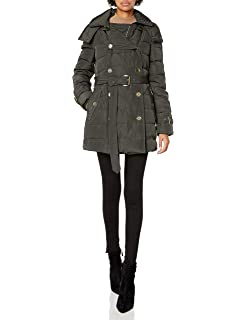 London Fog Women/'s Luxurious Belted Down Coat W// Removable Hood