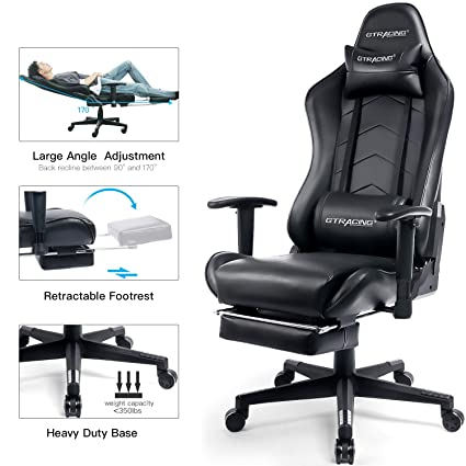 Ordinaire GTRACING Big And Tall Gaming Chair With Footrest Heavy Duty Adjustable  Recliner With Headrest Lumbar Support
