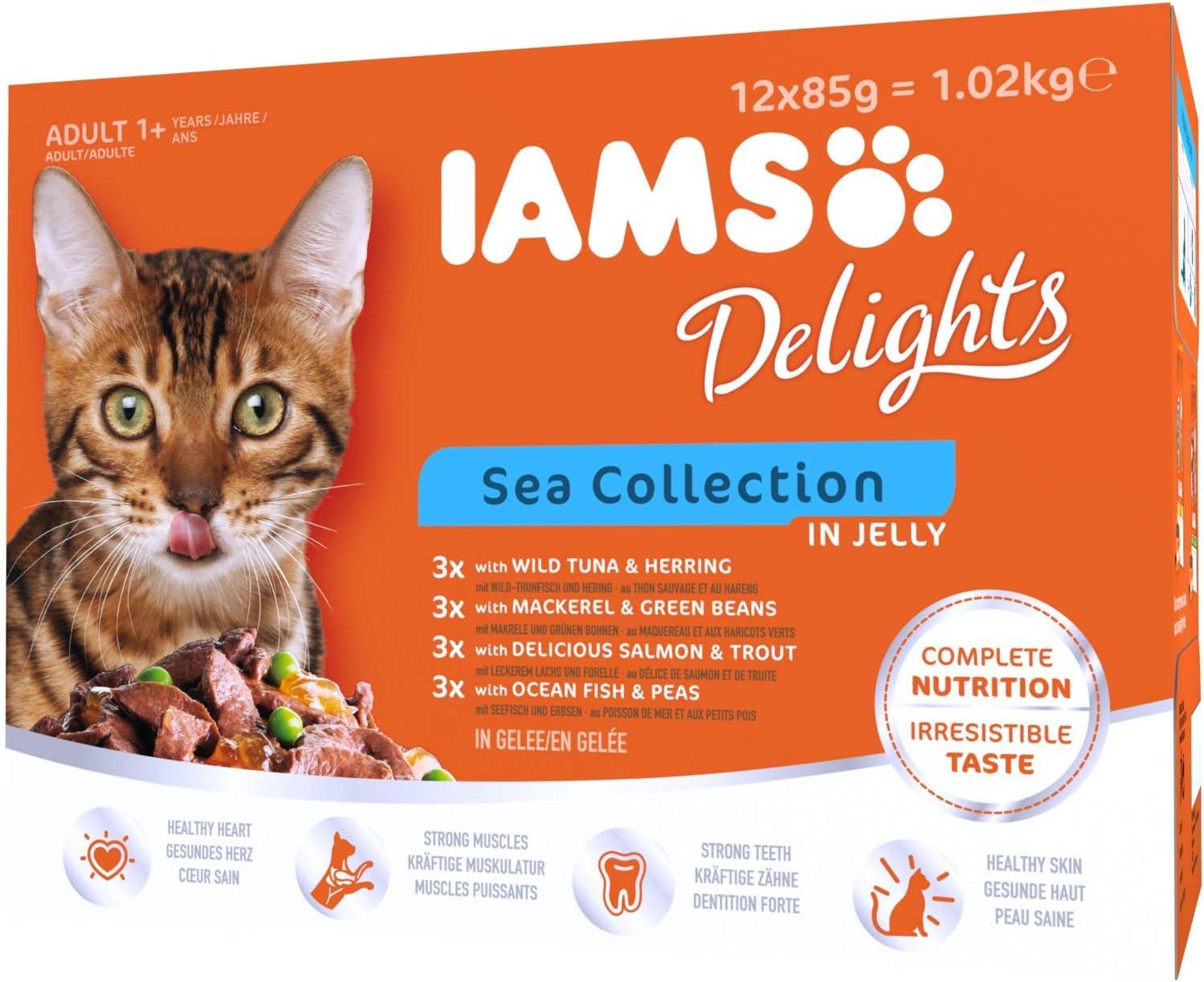 Iams Colección Mar, alimento húmedo en jalea para gatos adultos de todas las razas, 12 bolsas de 85 g