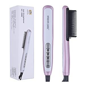 KINGDOMCARES Valentines Day Gifts Ionic Hair Straightener Brush Flat Iron Comb Curling Iron Ceramic Hair Curler Silky Frizz-Free Quick Straight Studio Salon Heated Hair Straightening Brush Pink