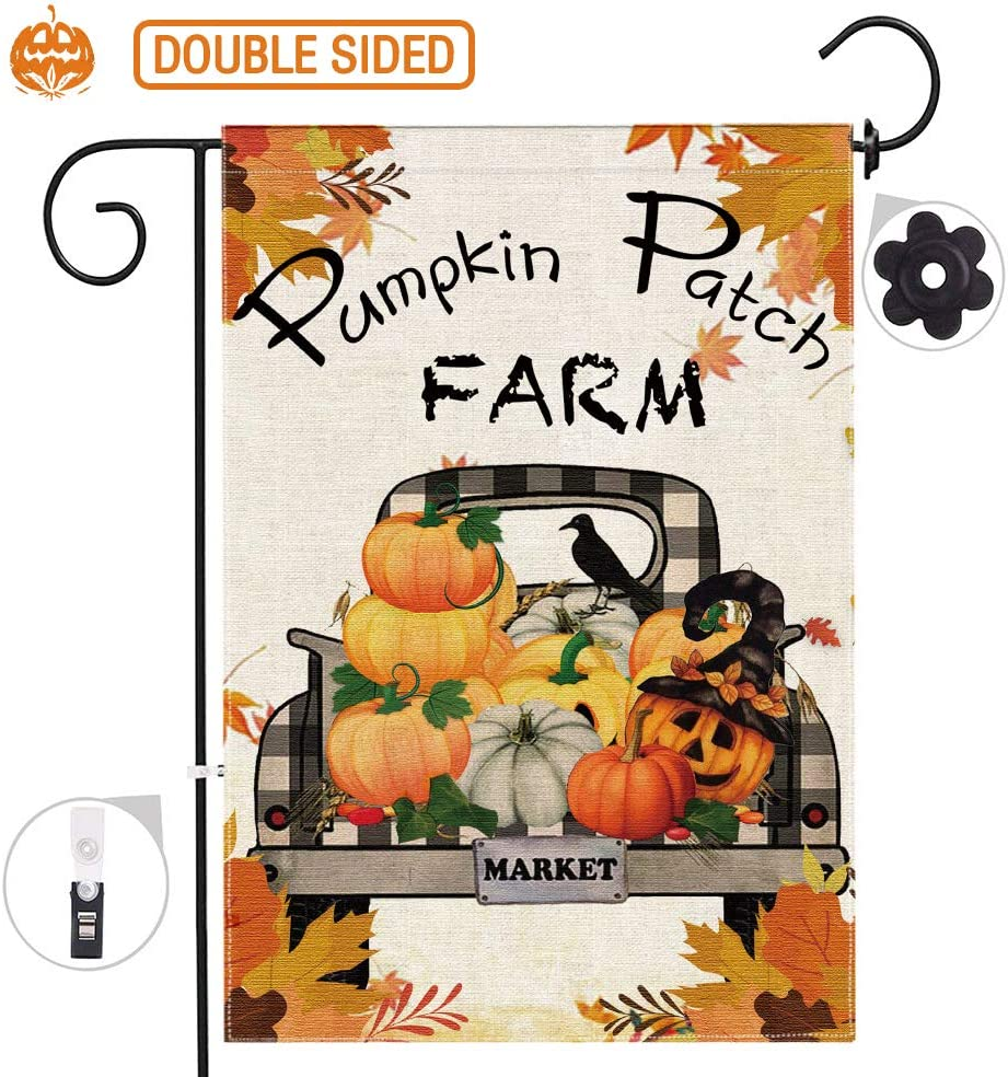 Hexagram Pumpkin Farm Truck Fall Garden Flags 12 x 18 Prime,Burlap Fall Yard Flag,Pumpkin Double Side Garden Flag Set,Farmhouse Autumn Garden Flag,Fall Leaves Decor Outdoor Banner