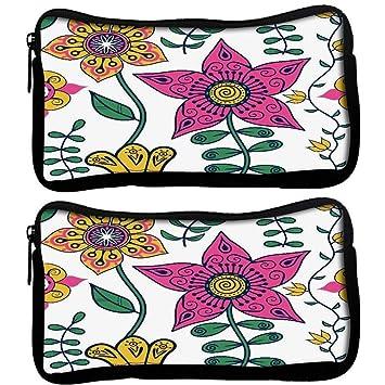 Snoogg Pack De 2 Colorido Floral Seamless Patrón en tela patrón de estilo de dibujos animados seamless estudiante pluma lápiz caso bolsa de cosméticos bolsa ...