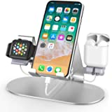 3 in 1 Aluminum Charging Station for Apple Watch Charger Stand Dock for iWatch Series 4/3/2/1,iPad,AirPods and iPhone Xs/X Ma