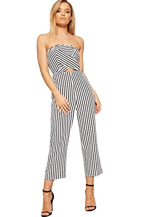 eaa69e9b4f91 WearAll Women s Striped Boob Tube Bandeau Off Shoulder Jumpsuit Ladies Wide  Leg Stretch - Black White