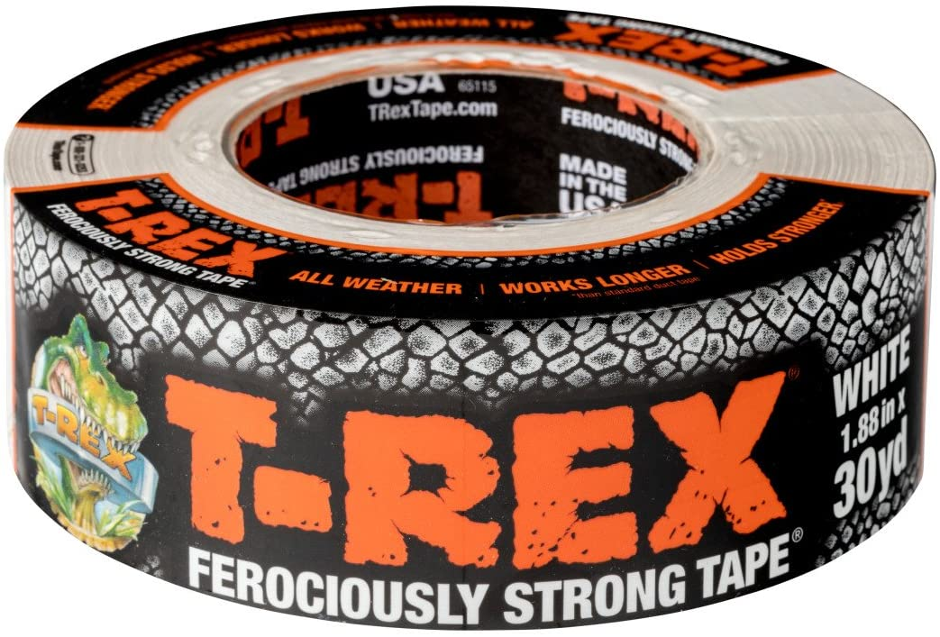 T-REX Ferociously Strong White Duct Tape, 1 Roll, 1.88 in. x 30 yd. (241534)