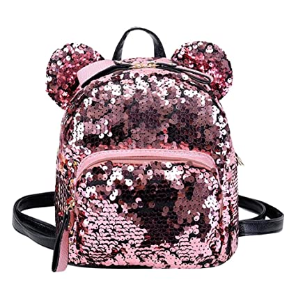 edd237f4ba7f Buy BESTVECH Fashion Shining Women Sequins Backpacks Teenage Girls Party Mini  School Bags Pink Online at Low Prices in India - Amazon.in