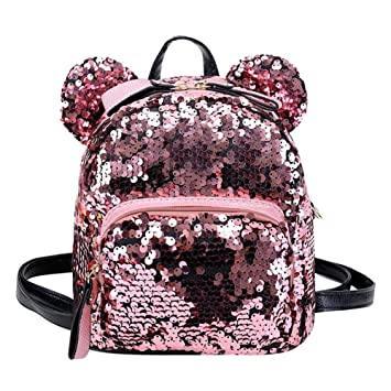5787bc53f9e Buy BESTVECH Fashion Shining Women Sequins Backpacks Teenage Girls Party Mini  School Bags Pink Online at Low Prices in India - Amazon.in