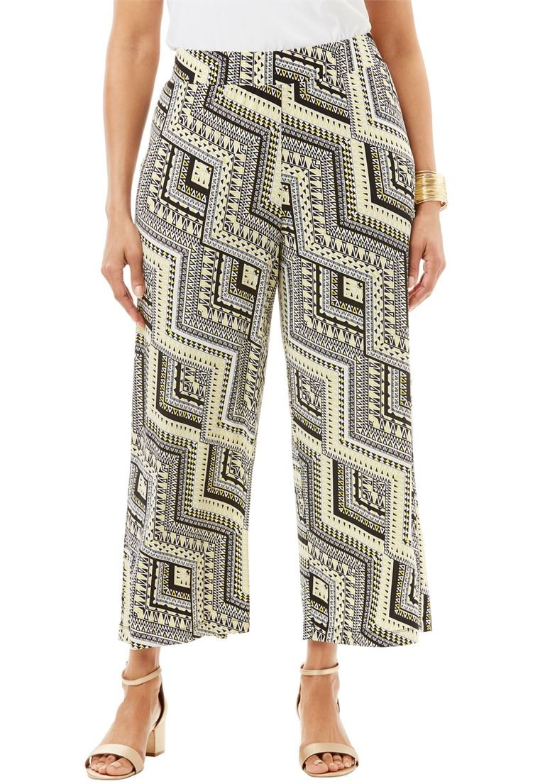 Jessica London Women's Plus Size Stretch Knit Cropped Pants Geometric Citron