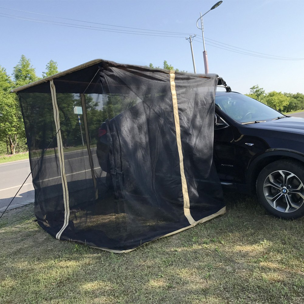 Tentproinc Screen Mesh Room Addition for Use with Vehicle Side Awnings 8\'x8\' Black – 3-Year Limited Warranty