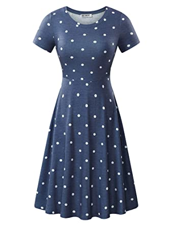 91f9c5b2328 HUHOT Women Short Sleeve A Line Business Casual Crew Neck Work Midi Dress  (Small