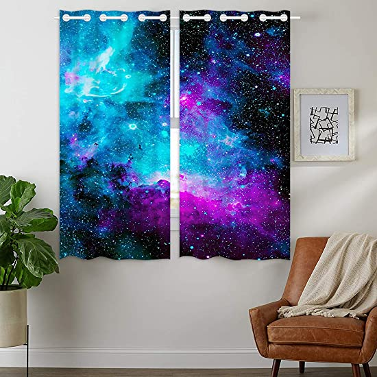 HommomH 24 x 36 inch Curtains 2 Panel Grommet Top Darkening Blackout Room Nebula Galaxy Blue