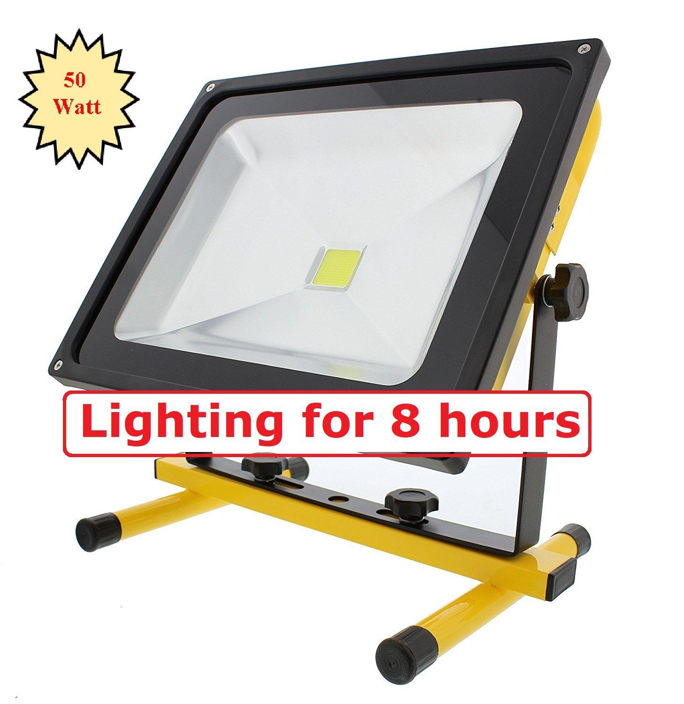 8 Hours Bright : MyraBec 50W CORDLESS Rechargeable LED Floodlight ,2 Brightness Levels,