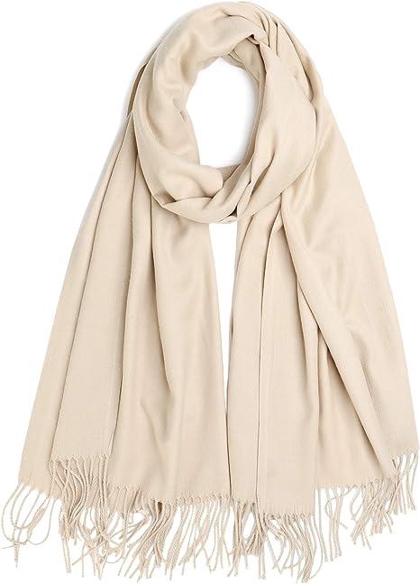 Alleza Bufanda para Mujer Invierno Chal Manta Mantón Fular Color Puro Cachemire Caliente 200 * 75cm