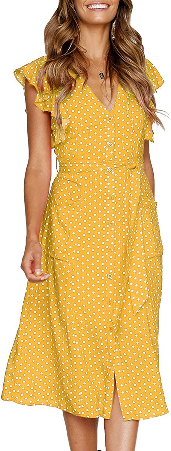 Salimdy Womens Polka Dot Sundresses Summer Bohemian Sleeveless Swing Midi Dress Pockets