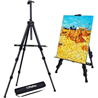 "Easel Stand, Ohuhu Artist Easels for Display, Aluminum Metal Tripod Field Easel with Bag for Table-Top/Floor/Flip Charts, Black Art Easels W/Adjustable Height 25-73"" for Posters, Kids Painting"