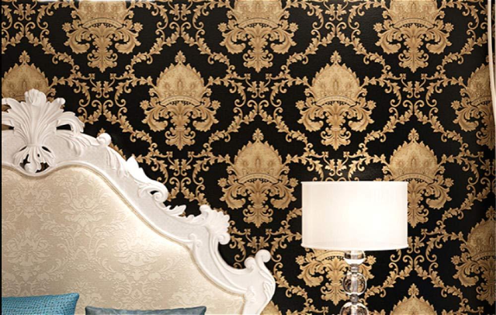 Papel pintado de Damasco 3D de alta calidad con relieve dorado y negro con textura de lujo para pared Rollo de papel de pared lavable