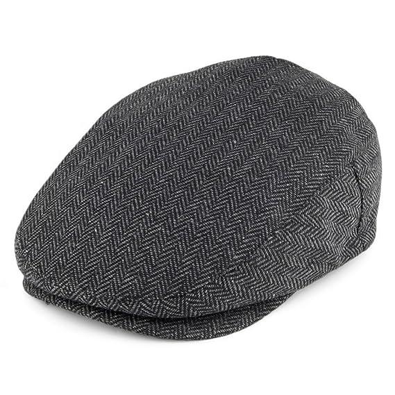 fe3df9ac31b22 Brixton Hats Hooligan Flat Cap - Grey Black Herringbone  Amazon.co ...