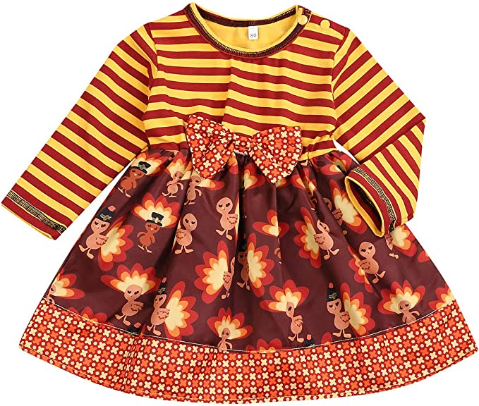 SEVEN YOUNG Thanksgivign Toddler Baby Girls Dress Long Sleeve Stripe Turkey Print with Bowknot Skirt Party Dress Outfit