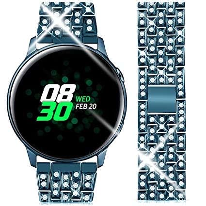 Goton Compatible Samsung Galaxy Watch Active 2 Band, Women Men Bling Diamond Jewelry Replacement Strap Bracelet Compatible for Galaxy Watch 42mm, ...