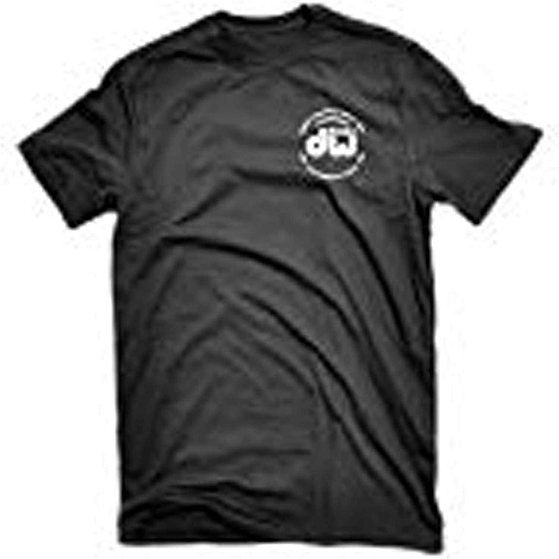 DW Drum Workshop Short Sleeve Tee, Heavy Cotton, Black with DW Logo, L