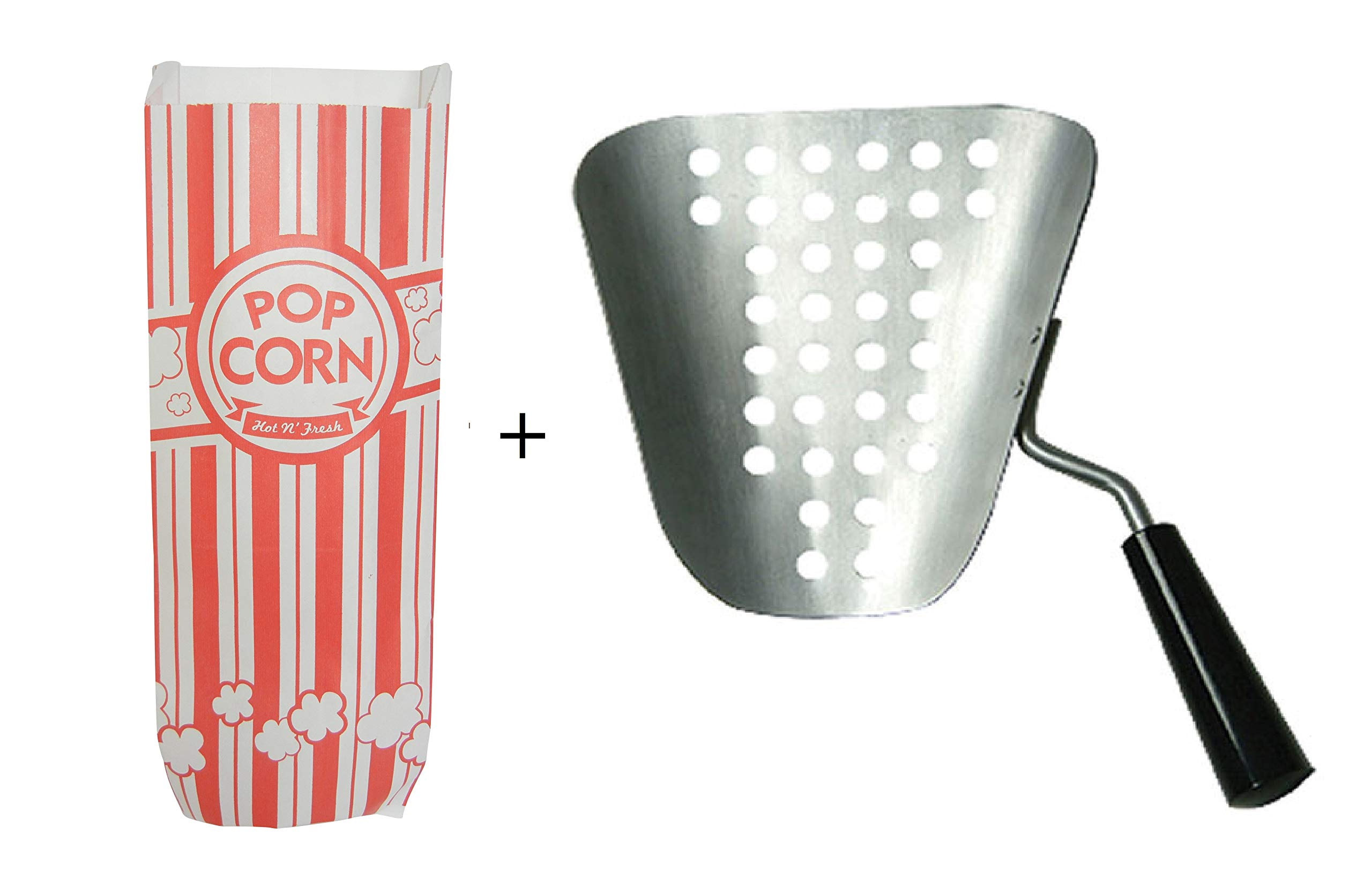 Benchmark 42030 Aluminum Speed Scoop Bundled with 30 Carnival King Popcorn Bags 2 oz Red and White Bags