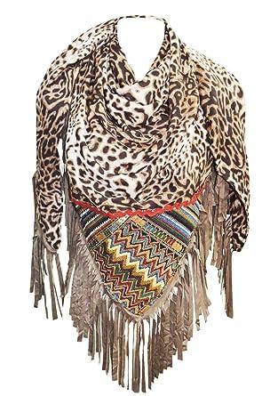 56b69a0eee2 KARL LOVEN Foulard Femme Ethnique motifs Léopard et afrique à Franges -  étole - pashmina -