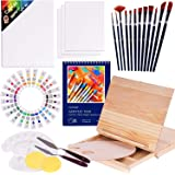 Acrylic Paint Set, 49 Piece Professional Painting Supplies Set, Includes Wood Table Easel, Painting Brushes, Acrylic…