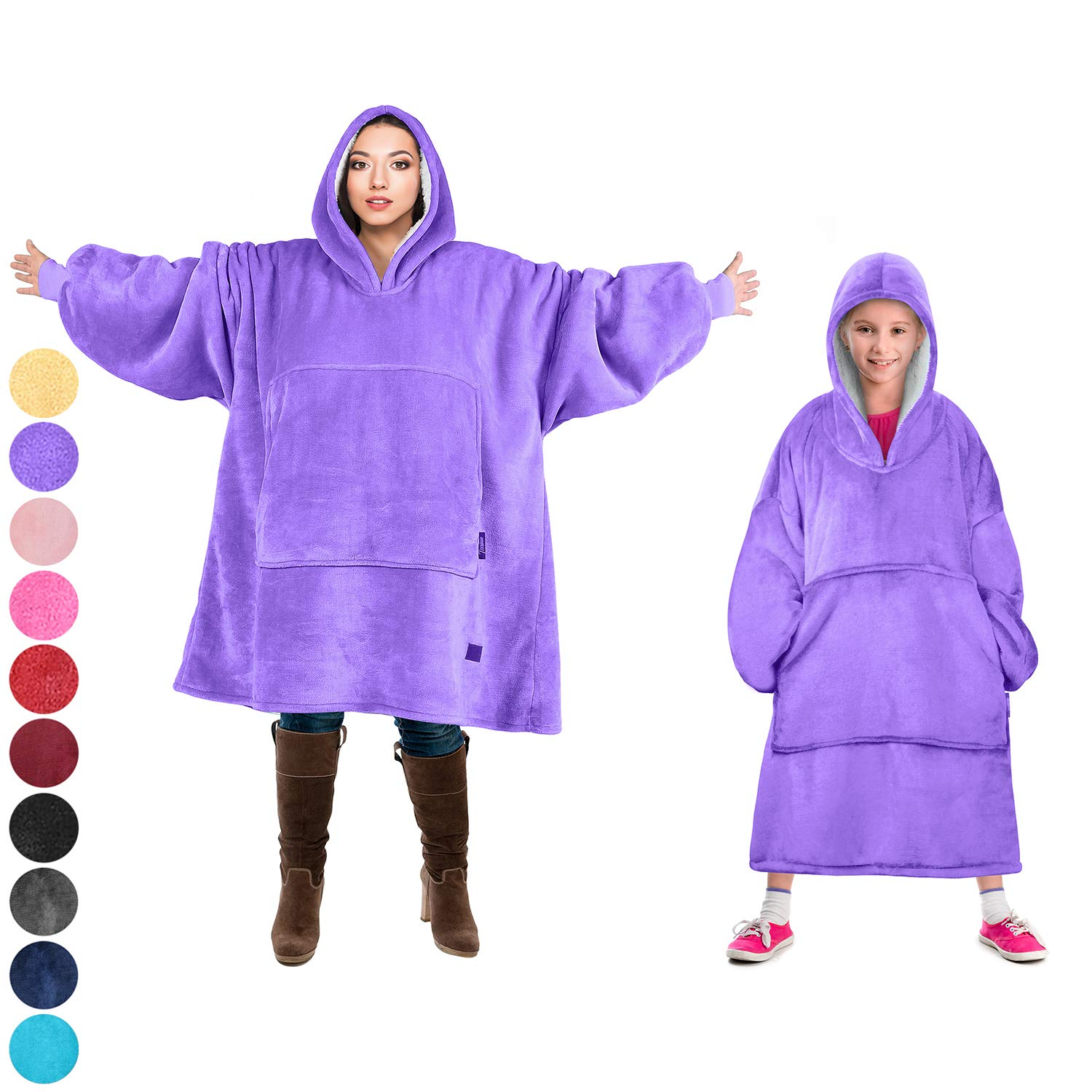 Tirrinia Blanket Sweatshirt, Super Soft Warm Comfortable Sherpa Hoodie with Giant Pocket, for Adults and College Students, Outdoor, Indoor,Reversible, Hood, Oversized, Purple
